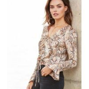 LUCY PARIS snake print ruched front blouse